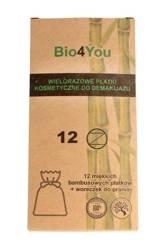 Płatki kosmetyczne wielorazowe bambusowe 12 szt + woreczek do prania - BIO4you